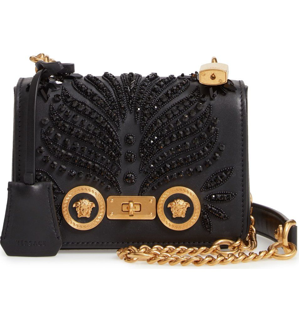 Versace Icon Crystal Embellished Leather Crossbody Bag  76d48d54363a7