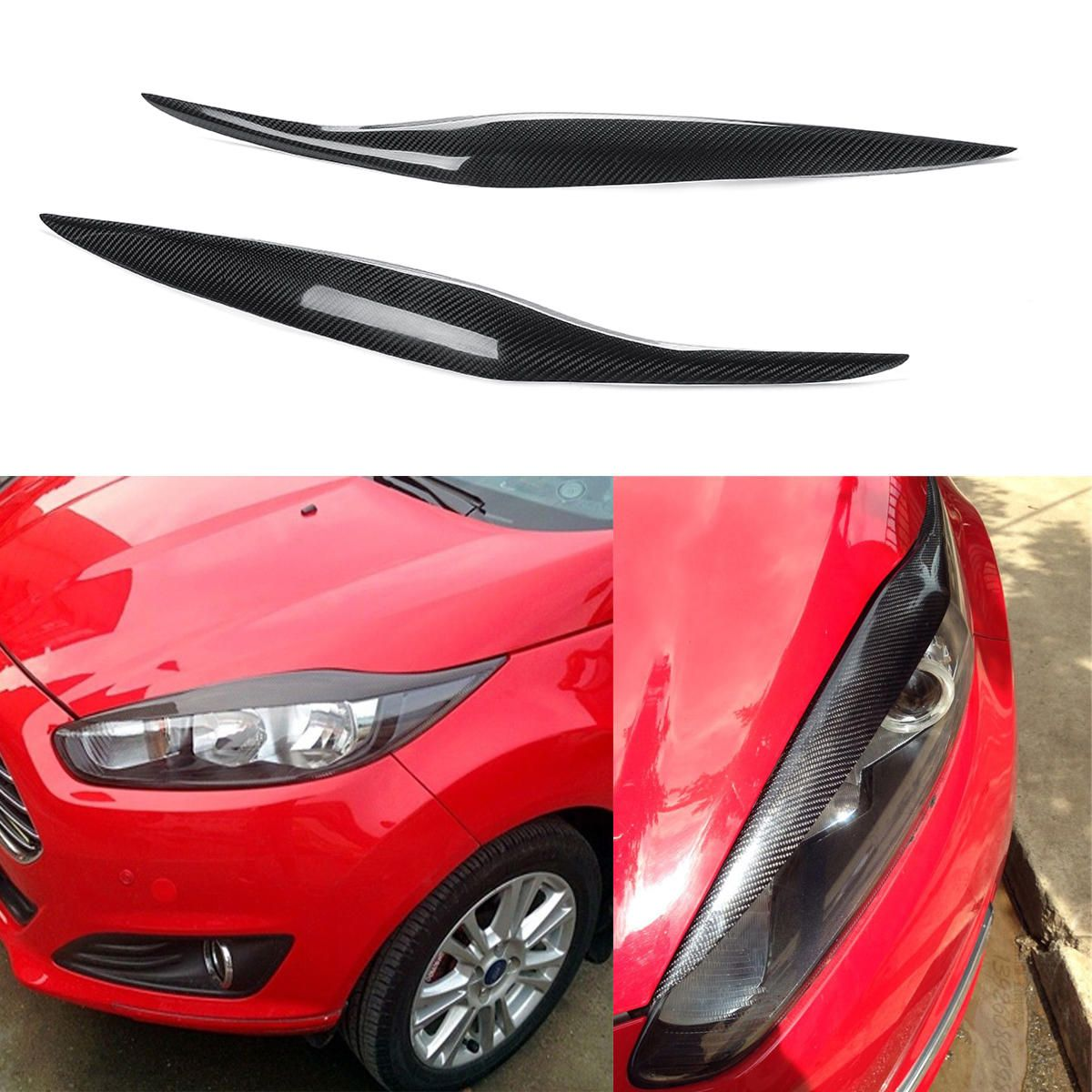 Carbon Fiber Car Headlight Eyebrow Eyelids For Ford Fiesta Mk7 5 2012 2017 Mk8 2013 2016 Car Headlights Ford Fiesta Carbon Fiber