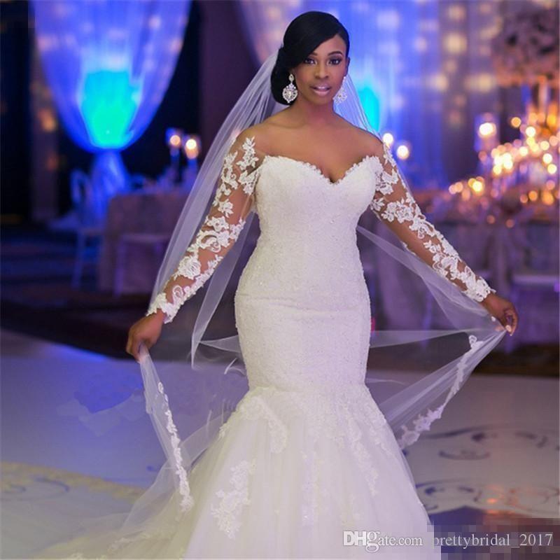 2017 New African Modern Mermaid Wedding Dresses Jewel Neck Illusion ...