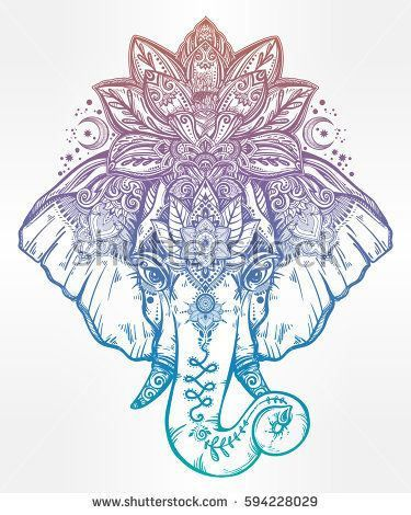 http://ift.tt/2mCK0nZ Just Pinned to Animals: Vintage style vector elephant with with ornate lotus mandala crown Ideal ethnic