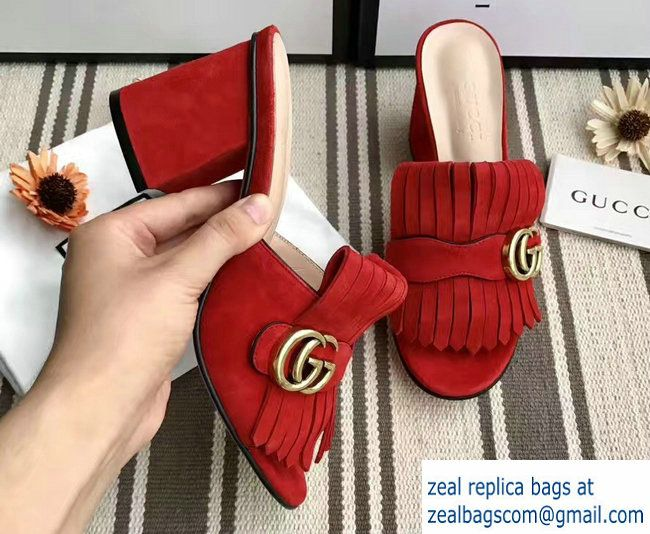 086e834987d Gucci Fringe Double G 7.5cm Mid-Heel Slide Sandals 453495 458051 Suede Red  2017