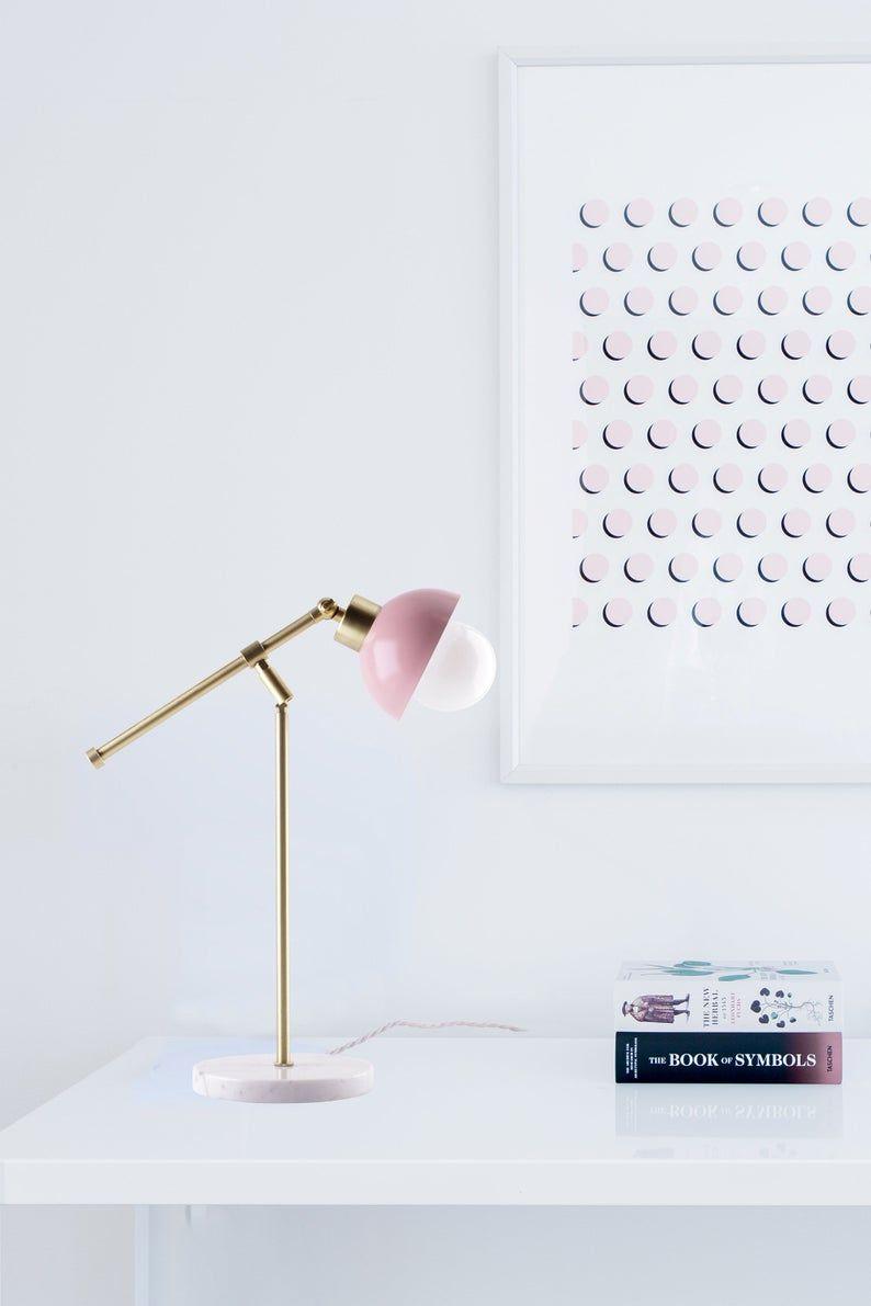 Blush Pink Modern Table Lamp Modern Lighting Gold And Blush Decor Blush Decor Pink Lamp Modern Table Lamp