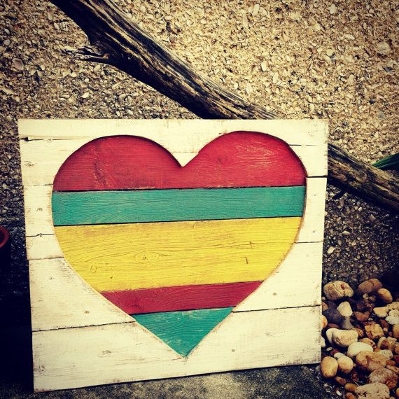 One Love, Handmade, Hand painted wooden wall art, Reclaimed wood art ...
