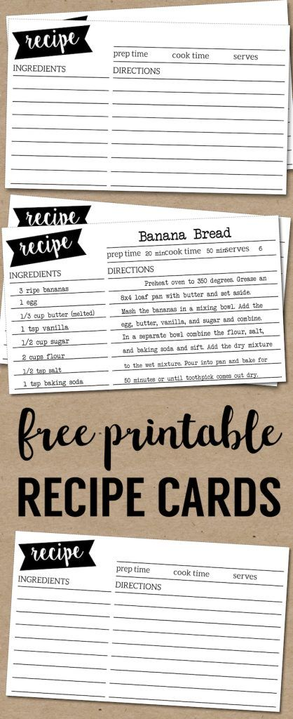 Free Recipe Card Template Printable Free Printables from Paper