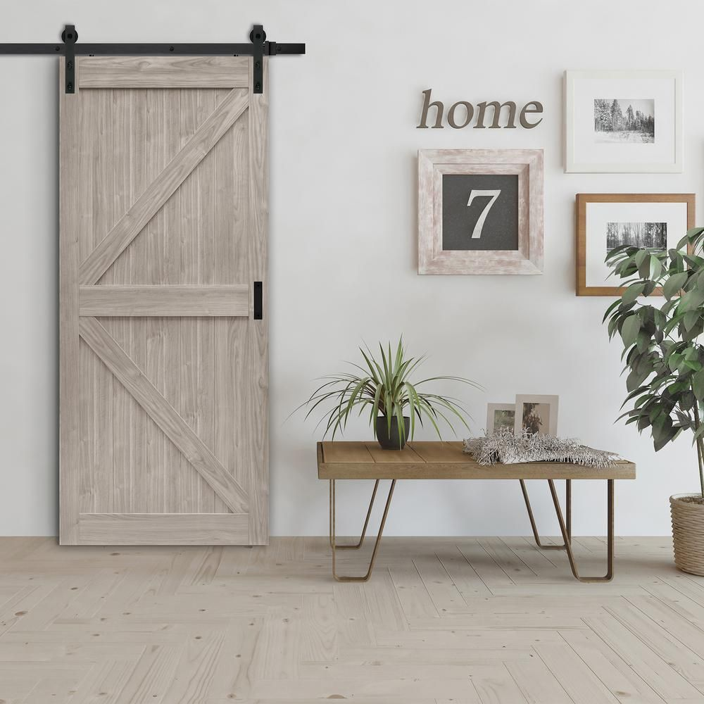 Truporte 36 In X 84 In Grey Mdf K Frame Interior Barn Door Slab Nl52 W9 Gy1 36 The Home Depot Interior Barn Doors Barn Door Wood Room Divider