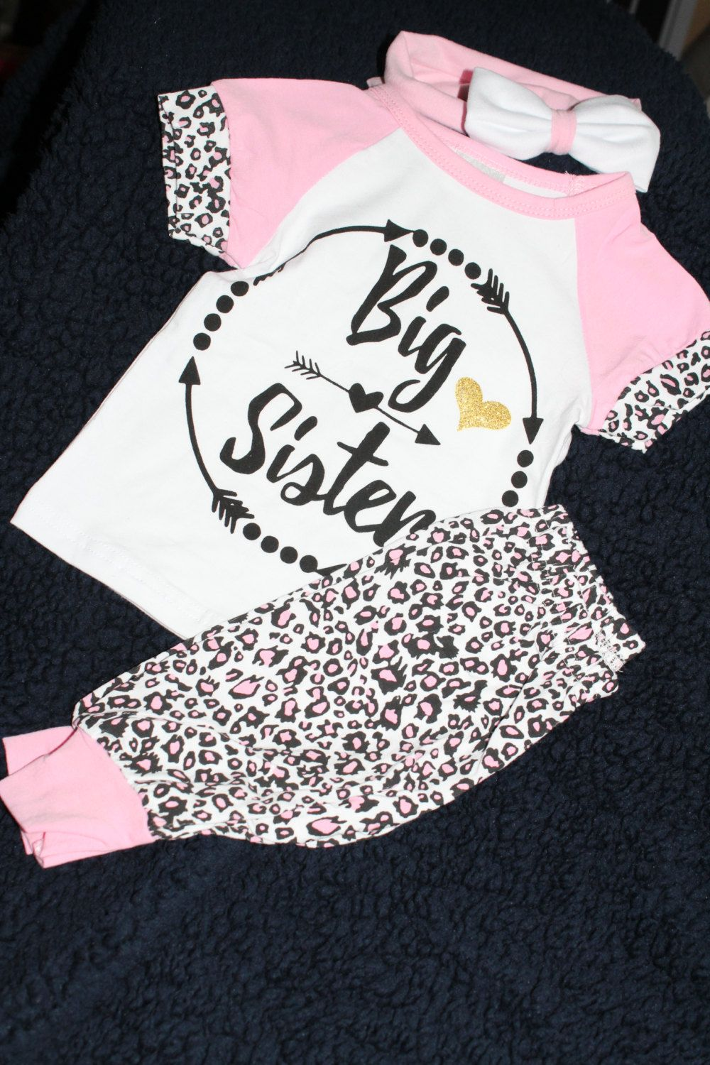 Toddler Girl Big Sister Pink Leopard Outfit Cute 12-18 Months 3 piece outfit set by CaughtYACreations on Etsy