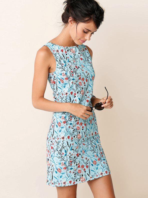 88048be22345 Vestido corto estampado flores de punto elástico en 2019 | clothes ...