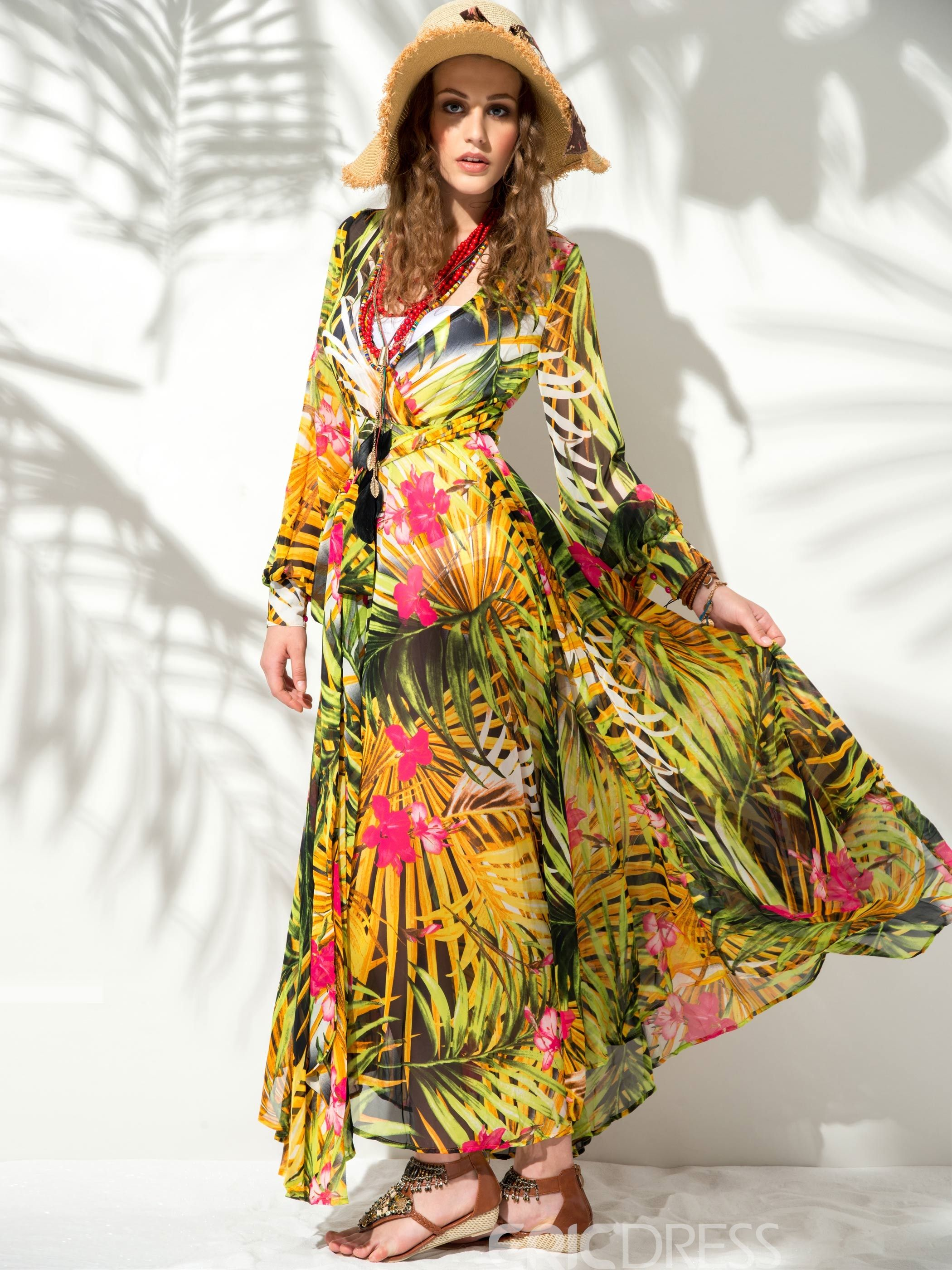 Tropical flower print vneck long sleeve maxi dress in iuve