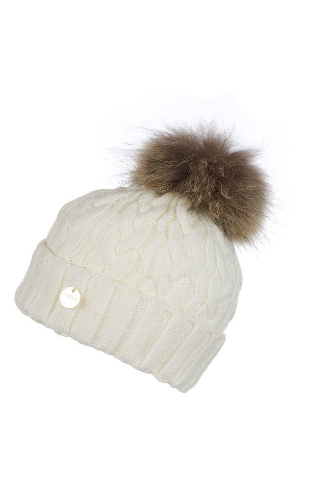 daf2278374b Cream Cable Knit Fur Pom Pom Hat