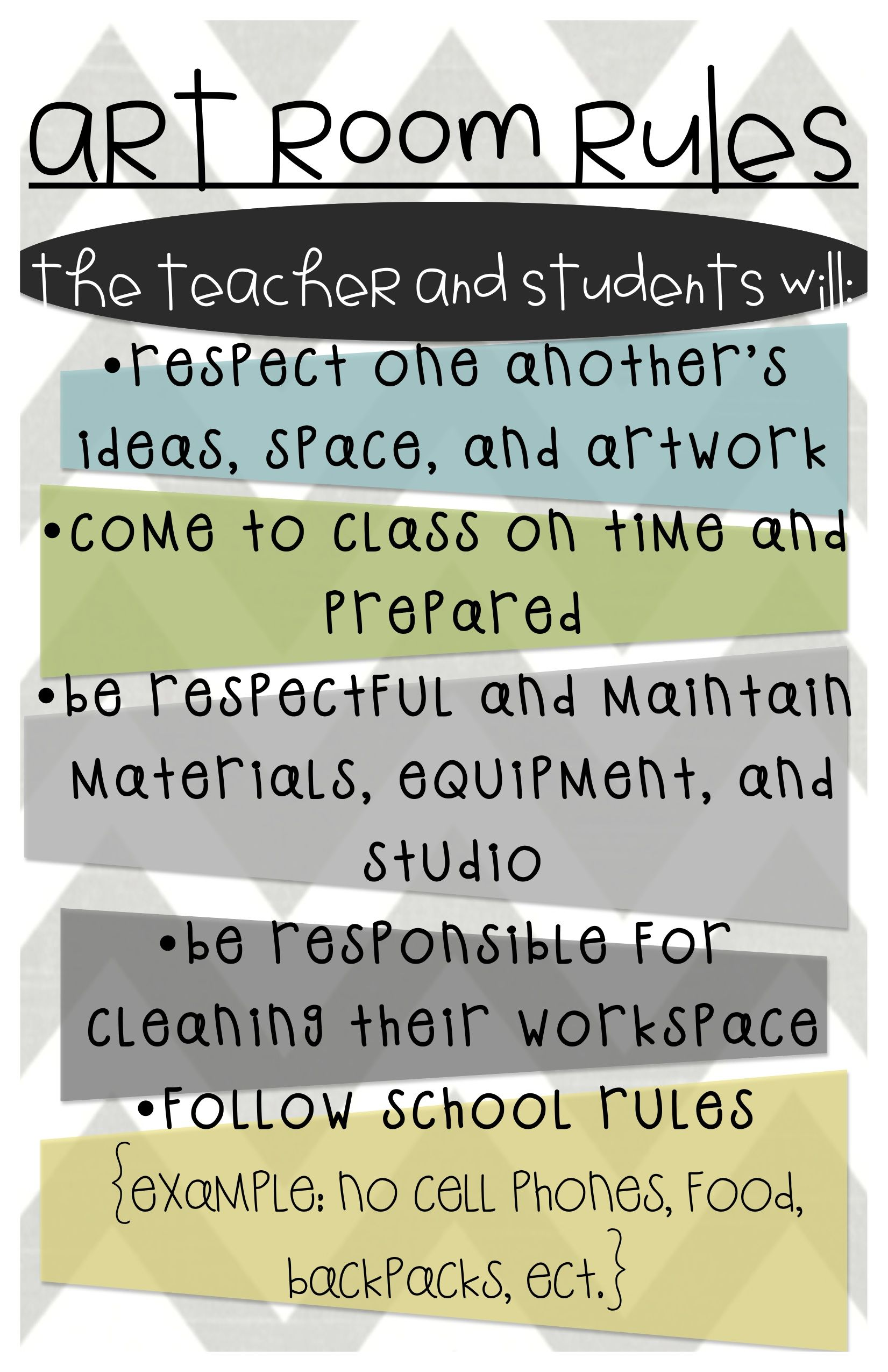 Elementary Art Class Rules Behavior Expectations