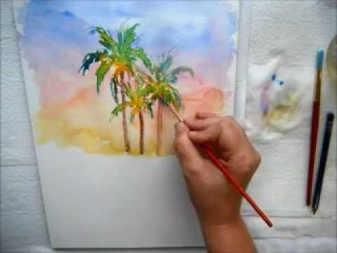 Coconut Palm Trees In Watercolor With Marionette Www Kauai Artist
