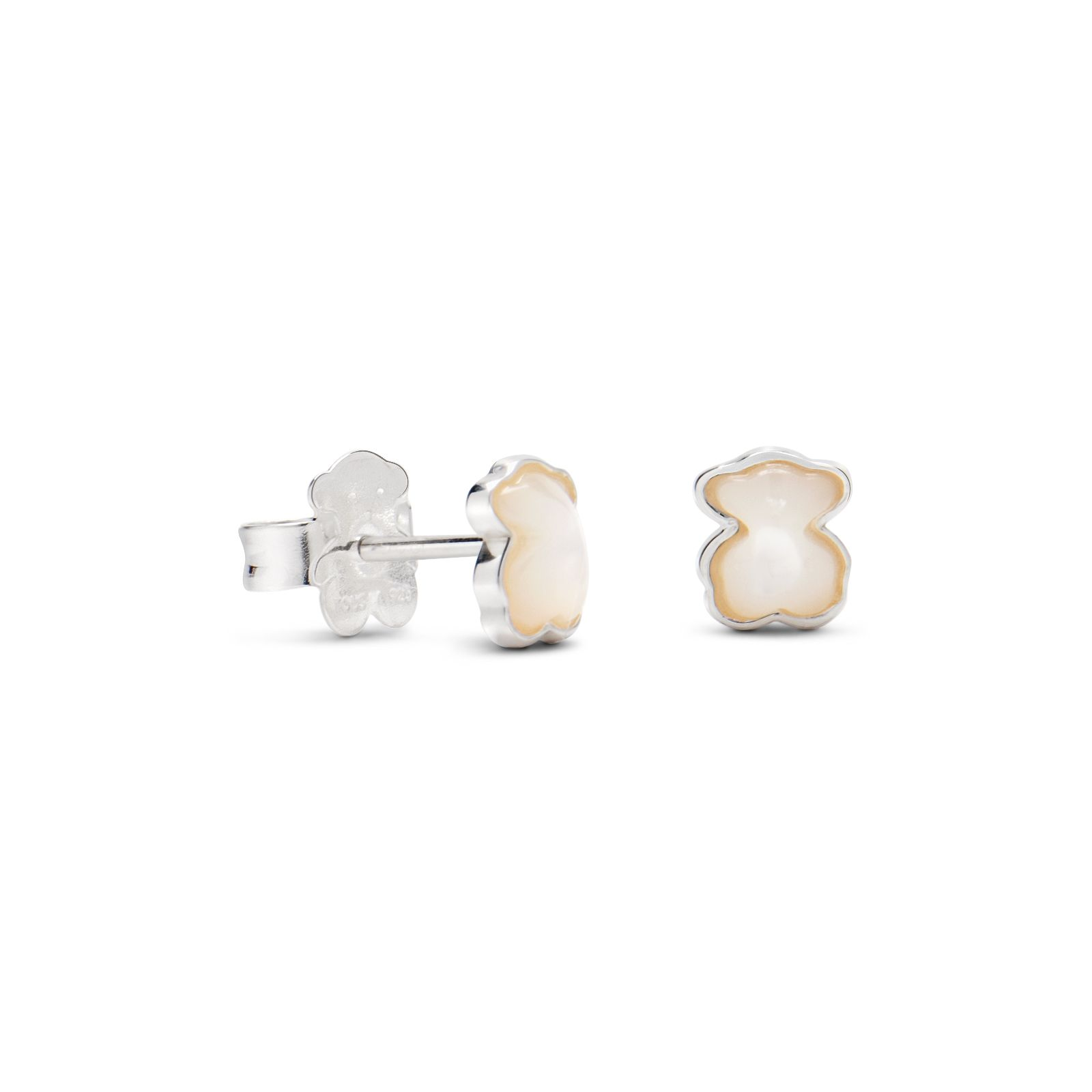 b11ab8cb8979 Sterling silver and mother of pearl TOUS Color earrings. 7mm. - 1 4