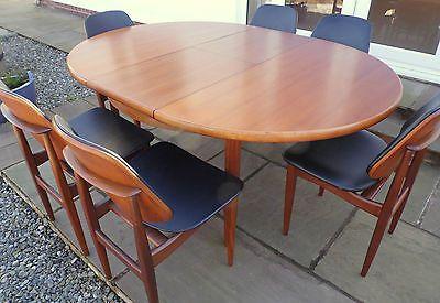Retro Vintage Eon Teak Dining Table Six Chairs Arner Vodder Era
