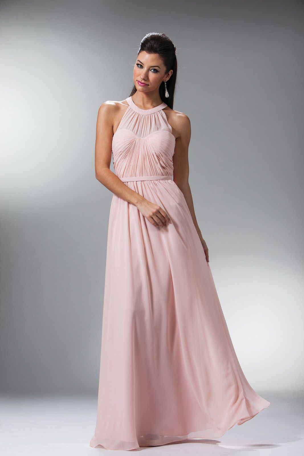 Long prom floor length dress gown evening bridesmaid sleeveless