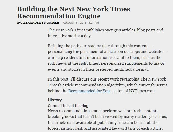 Building The Next New York Times Recommendation Engine Data Science Interactive Stories Data Analyst