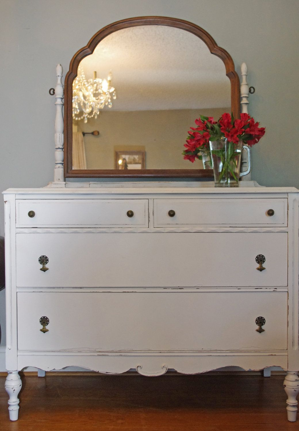 Sold Antique Dresser With Swivel Mirror Shabby Chic. $400.00, Via Etsy.