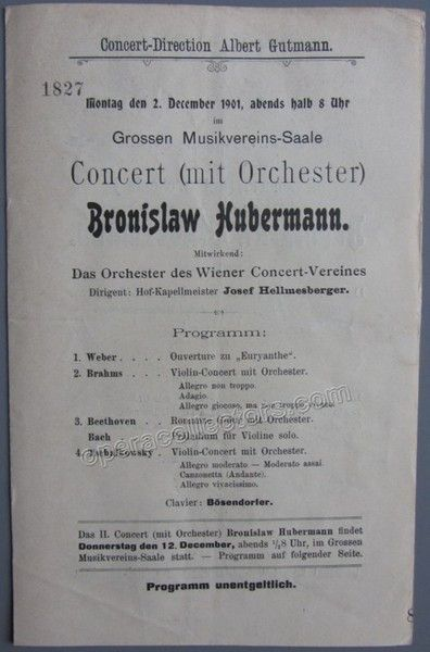 Hubermann Bronislaw  Concert Program Vienna   Vienna And