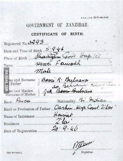 Birth certificate of Farrokh Bulsara(Freddie Mercury) Birth - birth certificate