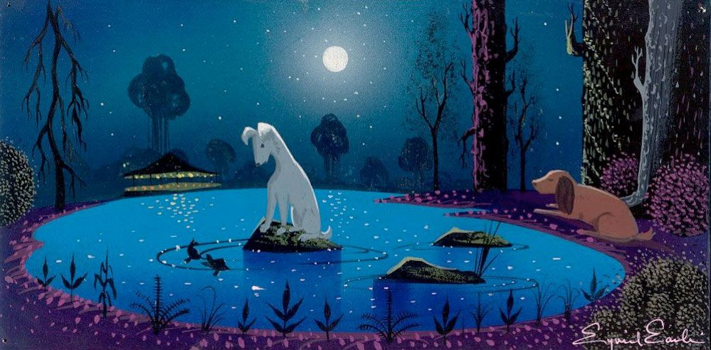 "Concept art for Disney's ""Lady and The Tramp"" by Eyvind Earle."