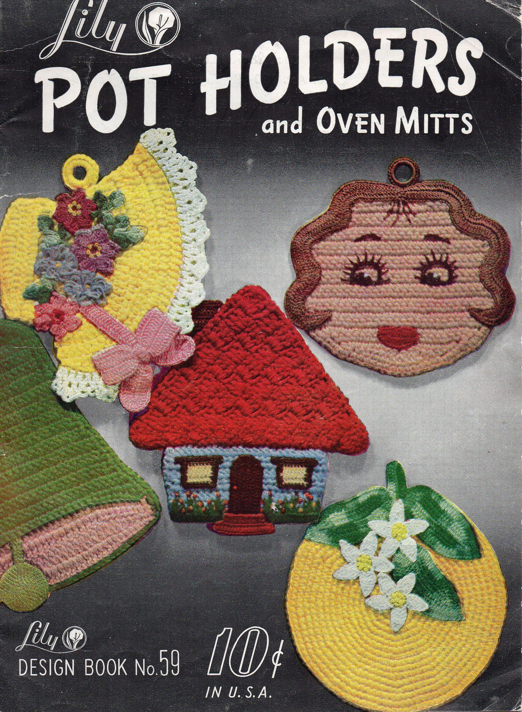 Dog Scottie Vintage Potholder Crochet Pattern Pot Holder Retro Crocheted Hot Pad