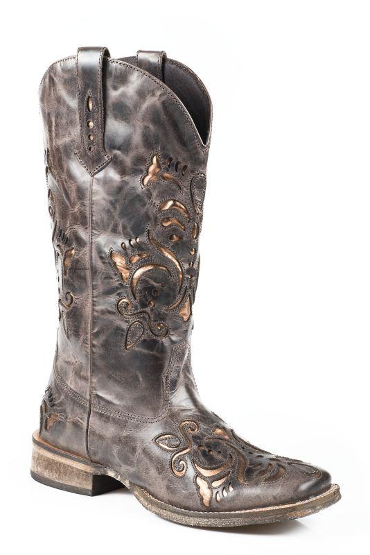 Roper Ladies Square Toe Metallic Bronze Boots 8 Underlay