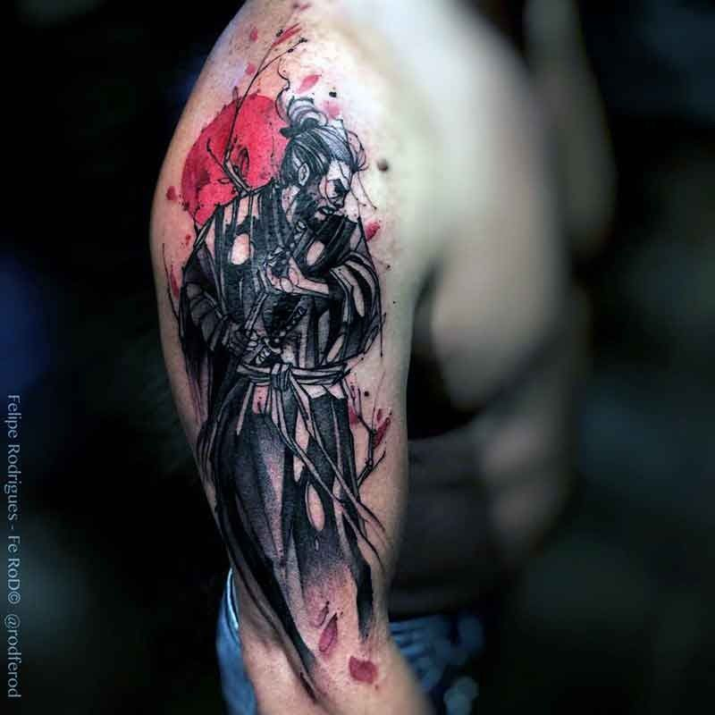 Japanese Style Colored Shoulder Tattoo Of Samurai Warrior With Tree And Sun Warrior Tattoos Samurai Tattoo Samurai Tattoo Design