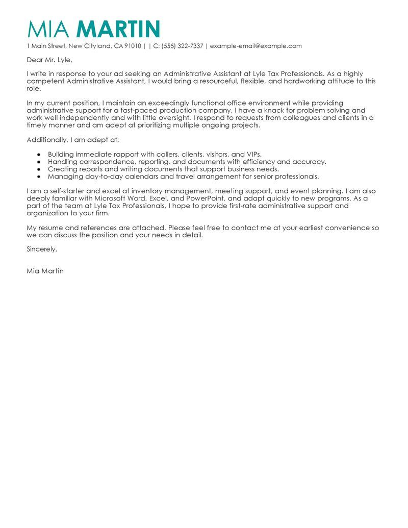 administrative cover letter for resume