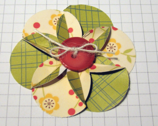 Simple flower made with a circle punch, decorated with a button