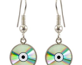 CD Design Silver Plated Earrings in Gift Box Cute Jewelry