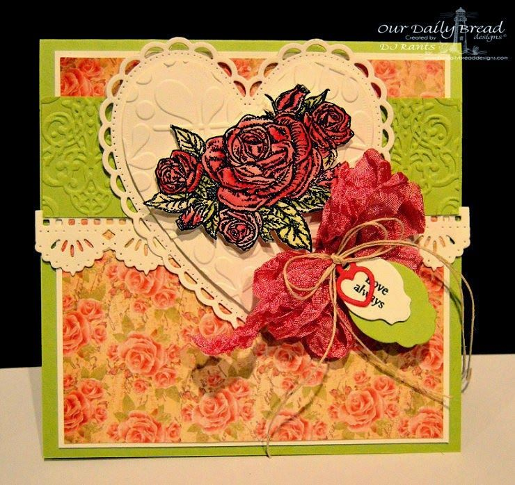 ODBDSLC223 Inspiration Challenge  Stamps - Our Daily Bread Designs Smell the Roses, Mini Tag Sentiments, ODBD Custom Ornate Heart Dies, ODBD Custom Beautiful Borders Dies, ODBD Custom Mini Tag Dies, ODBD Blushing Rose Paper Collection