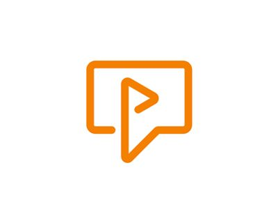 Video play + chat bubble, logo design symbol by Alex Tass