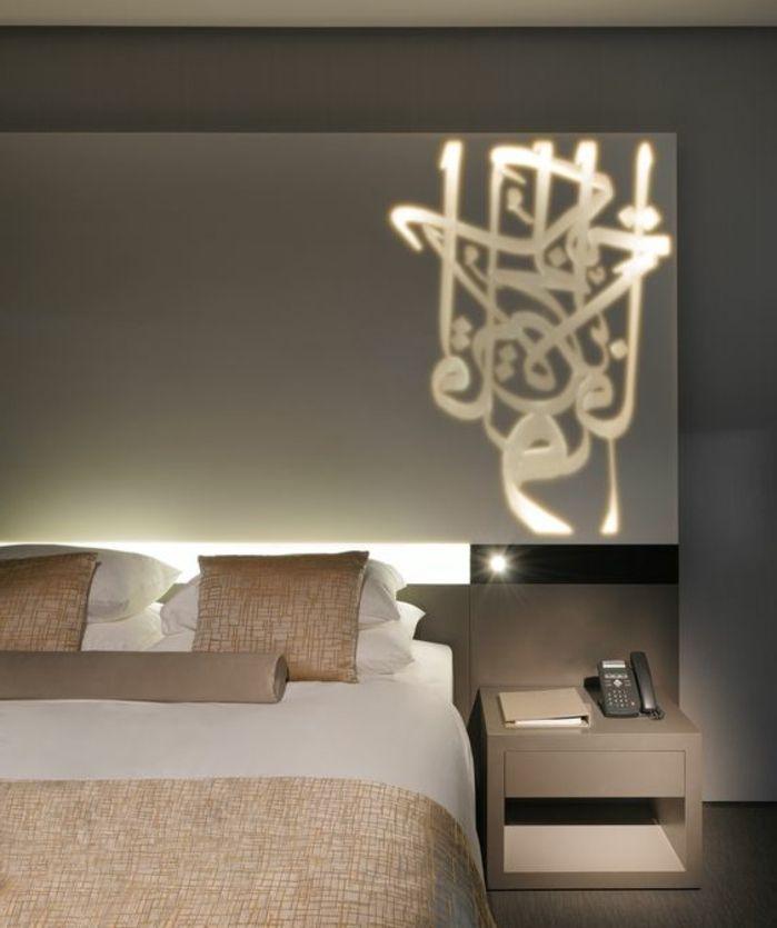 orientalische m bel bett mit wanddeko dekoration wandbild. Black Bedroom Furniture Sets. Home Design Ideas