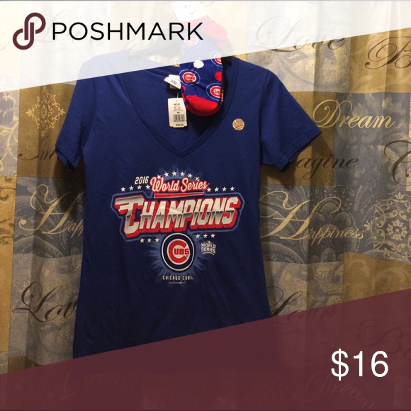 Cubs World Series Shirt with medium Socks(6-11). A woman's world series championship Cubs shirt with a matching pair of Cubs Sox. Please see pictures. Tops Tees - Short Sleeve