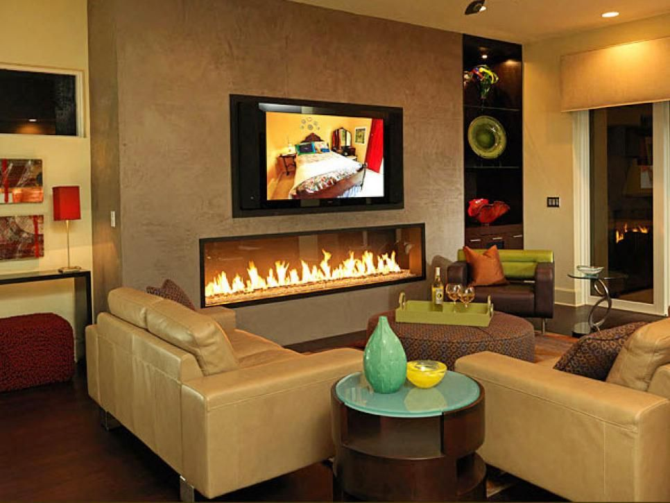 a horizontal simple gas fireplace appears as another piece of artwork in this fun - Gas Fireplace Design Ideas