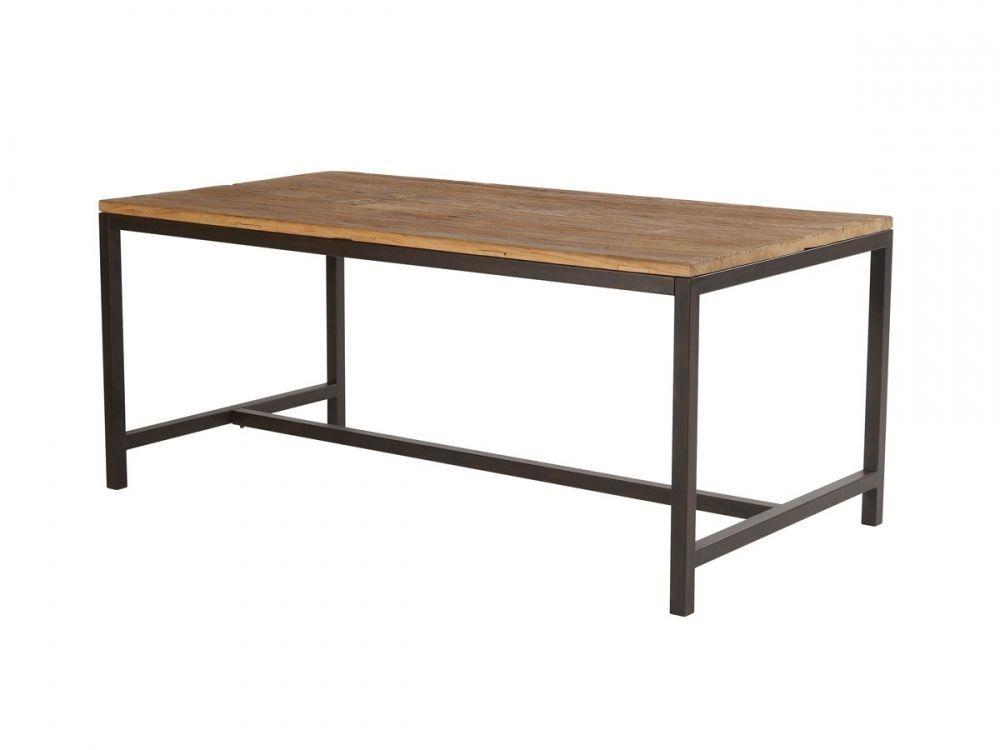 VALLY Tisch Designertisch Stahl & Ulme Holz Esstisch