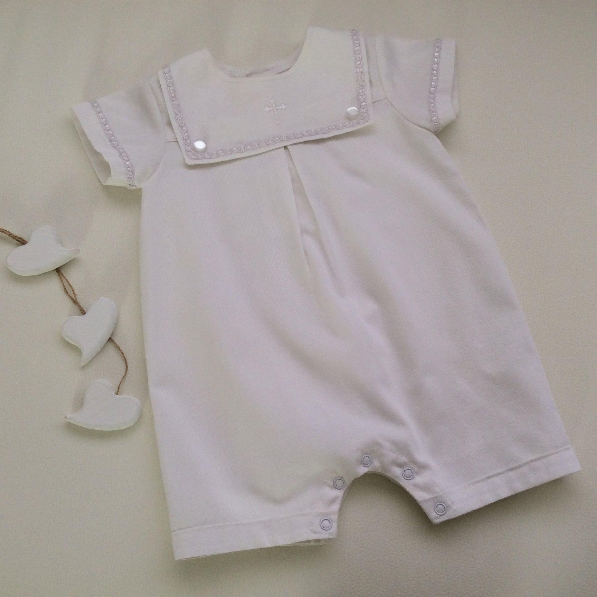 Baby Boy Baptism Sailor Romper Custom Made To Order