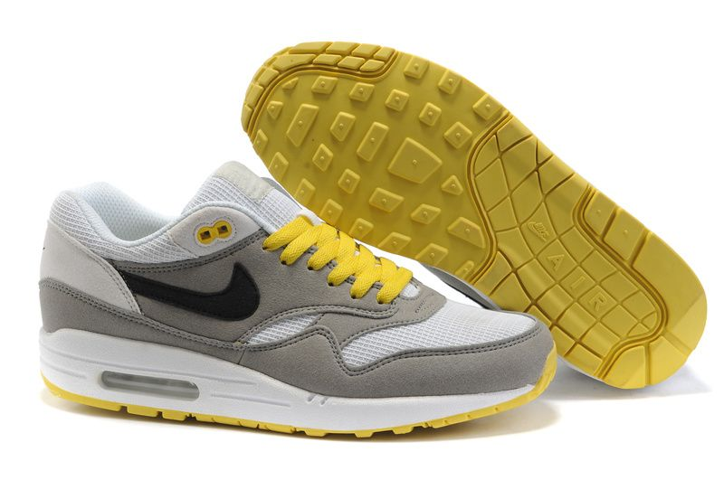 Nike Air Max 87 Mens Running Shoes In Grey White Yellow For Sale Outlet