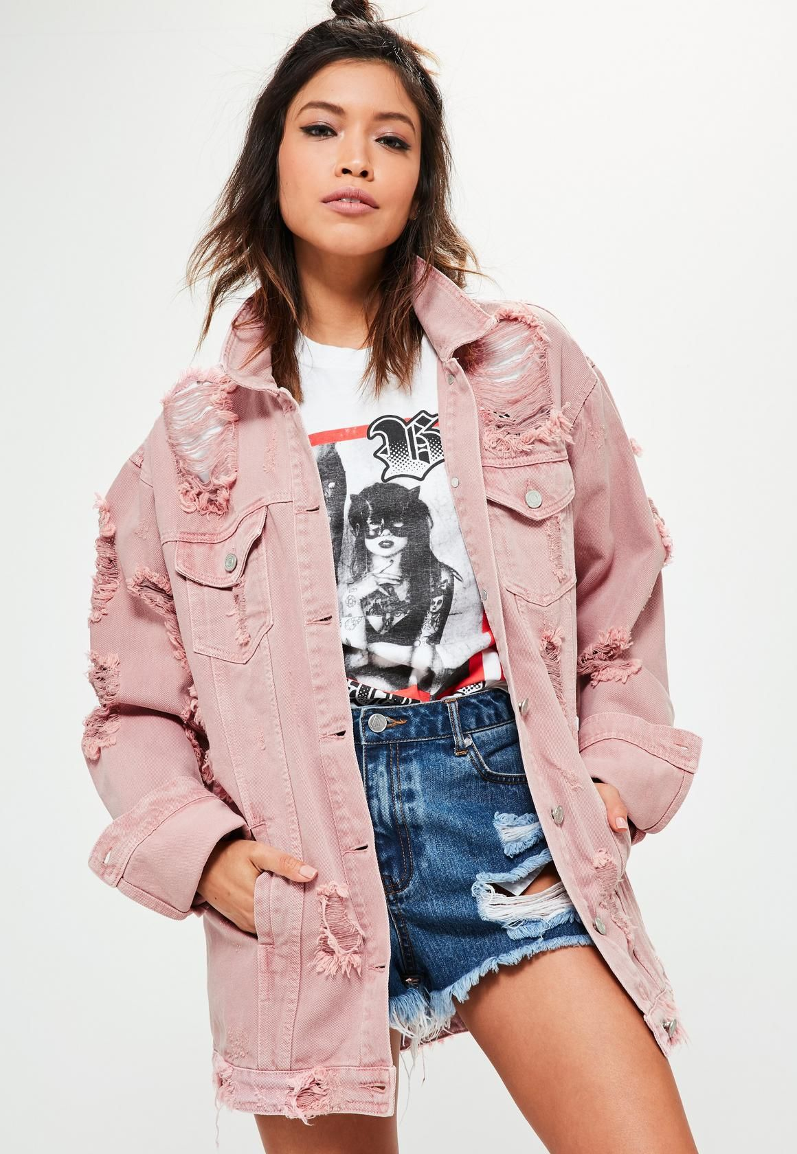 Petite Pink Distressed Denim Jacket - Missguided | Missguided ...