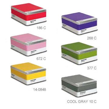 pantone tin storage box  I have the red one, too bad there is no orange one!