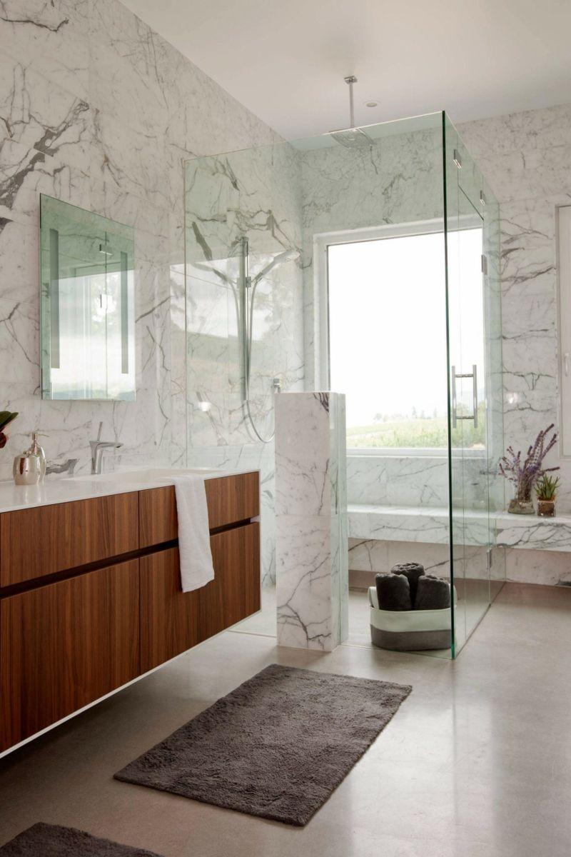 Salle de bains marbre bois bathroom wood marble grav dans le marbre - Salle de bain marbre ...