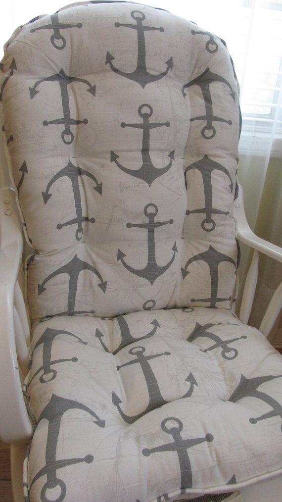 custom glider or rocker cushion set white grey anchors chair pads