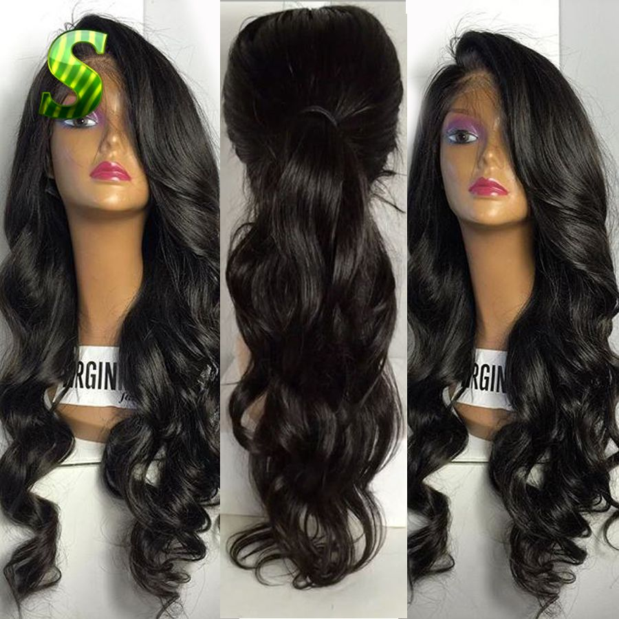 Virgin brazilian human hair lace front wig glueless loose wave full