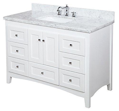 Abbey 48 Inch Bathroom Vanity Carrara White Includes Italian Marble