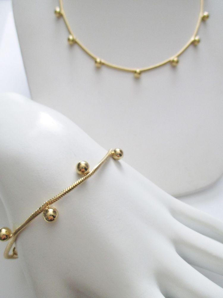 Vintage NAPIER Gold Plated Necklace / Bracelet Set Slinky Chain Attached Balls #Napier