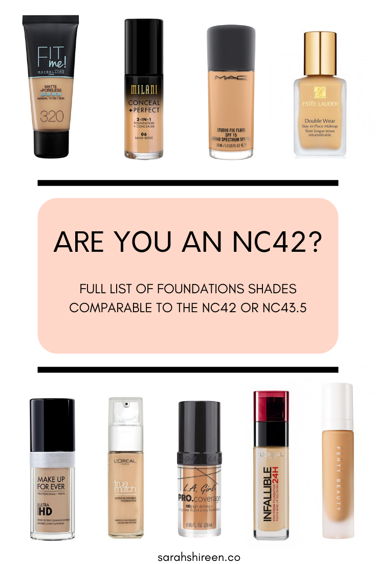 Mac Nc42 Foundation Dupes Drugstore To High End Sarah Shireen Foundation Shades Foundation Dupes How To Match Foundation