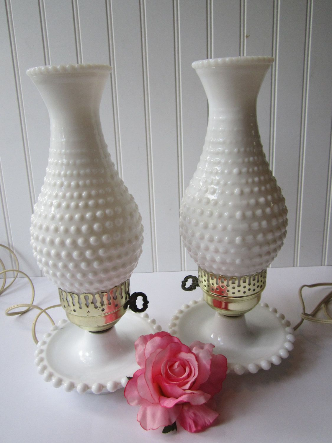 Awesome Vintage Milk Glass Hobnail Lamp Pair. Reminds Me Of My Grandmother And I  Want A