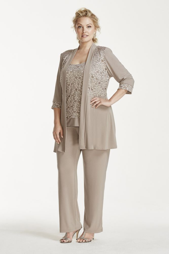Plus Size Mock Two Piece Lace and Jersey Pant Suit - Mocha (Brown ...