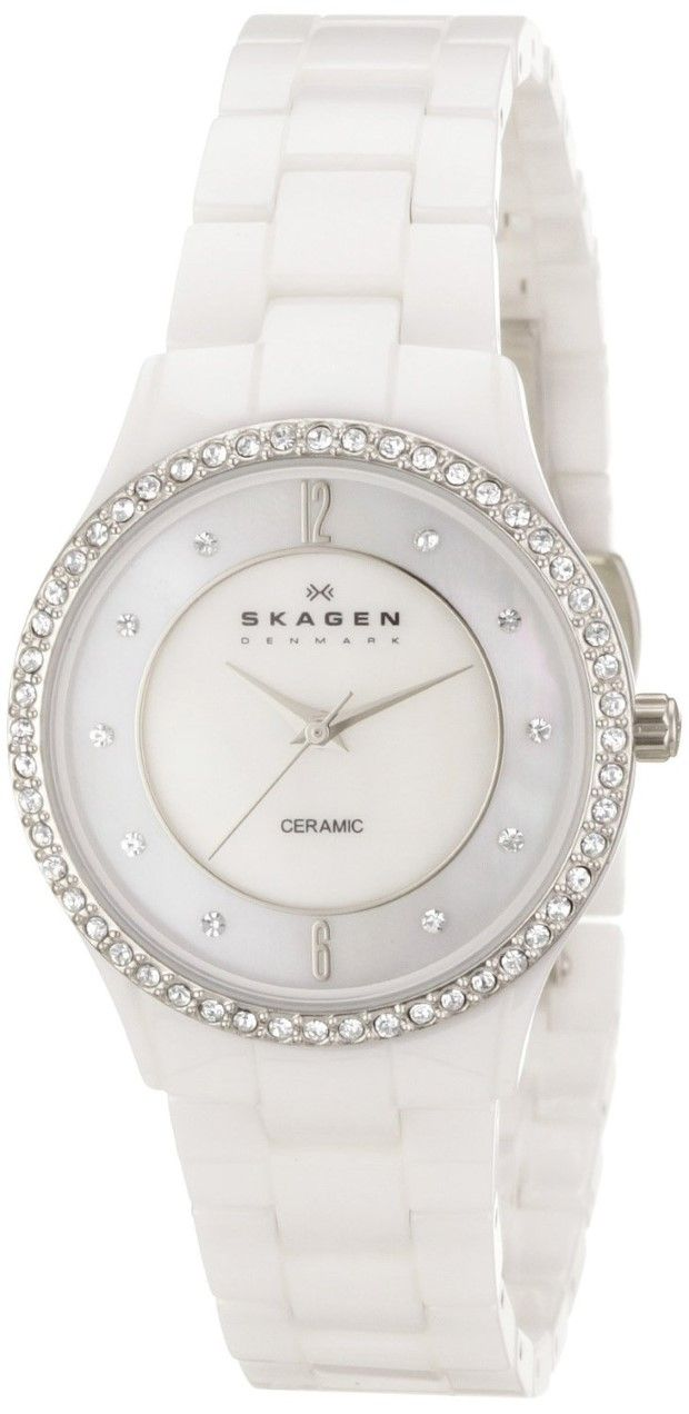 Watch Mom In Bedroom Camera: Women White Watch Skagen Women's 347SSXWC Katja