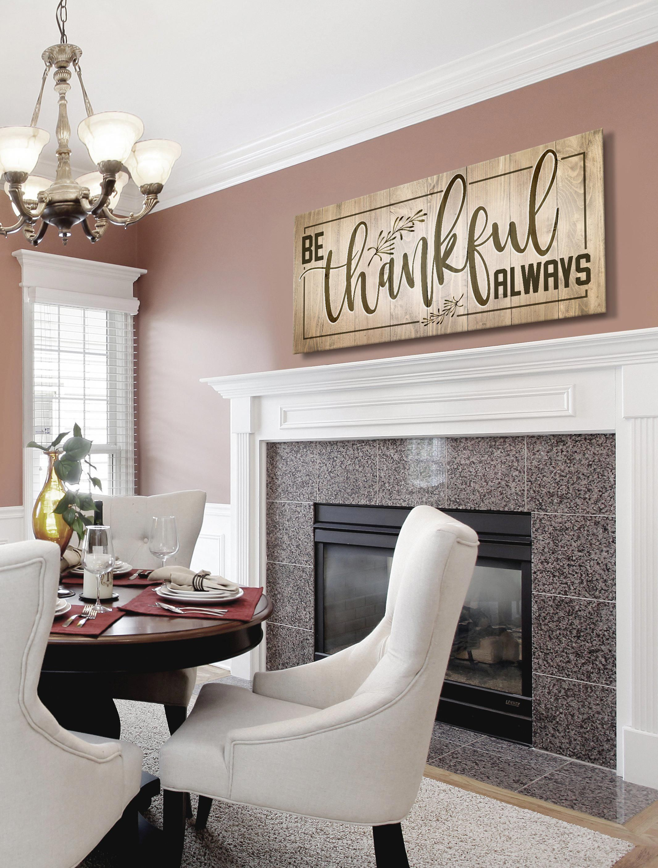 Kitchen wall art be thankful always wood frame ready to