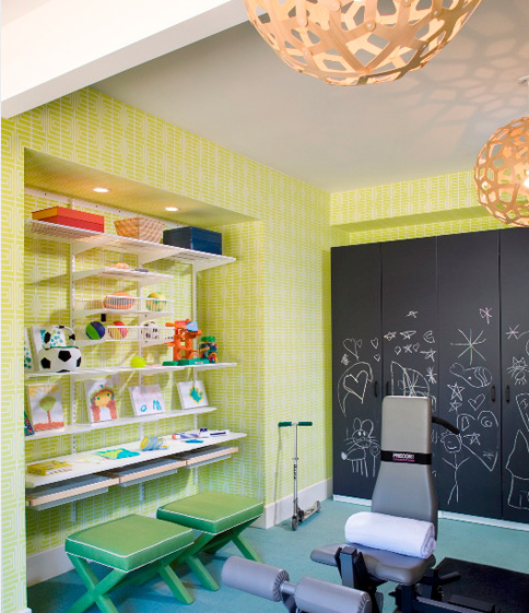 Basement Playroom & Gym With Bright Yellow Wallpaper